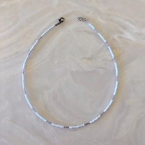 16 inch glass seed bead choker, pink and white